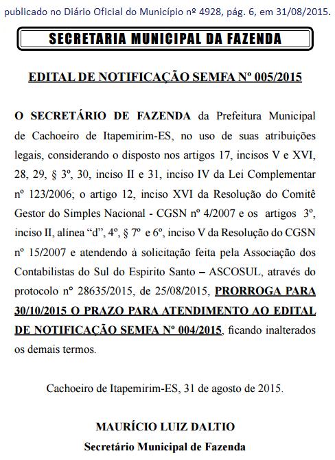 Edital SEMFA nº 005-15 - prorrogação prazo SIMPLES