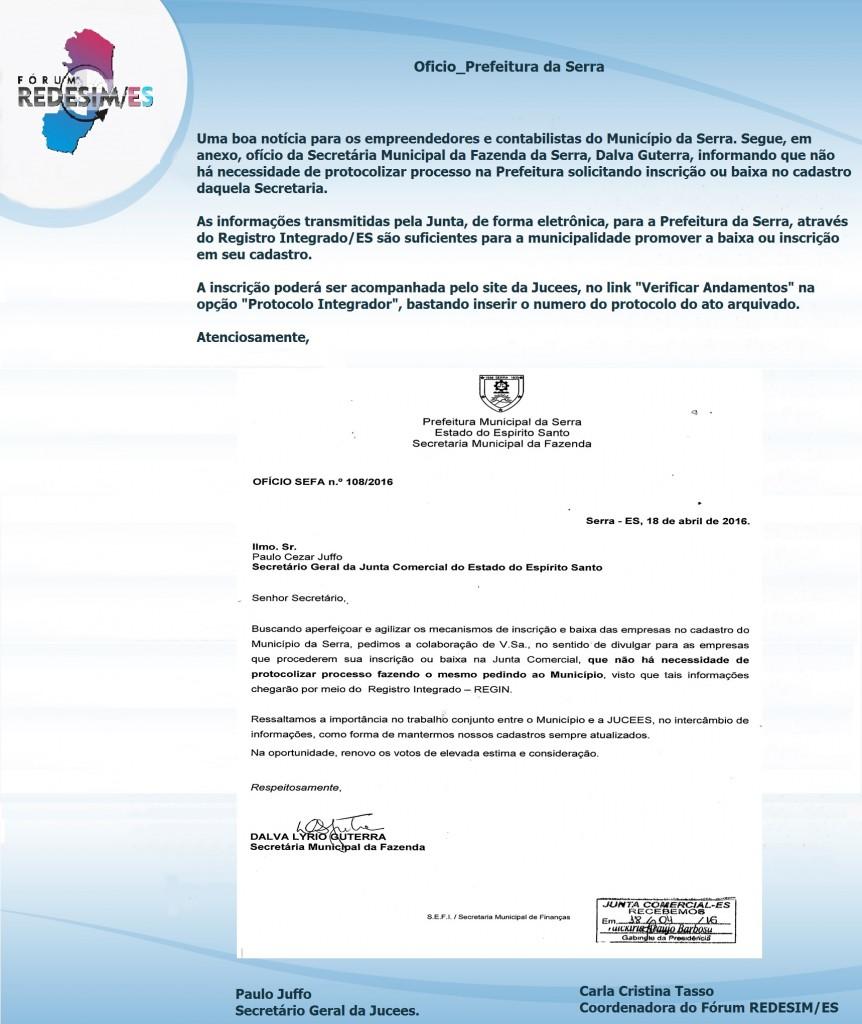 BANNER FORUM REDESIM - Oficio_Prefeitura da Serra MODELO 02_20ABR2016
